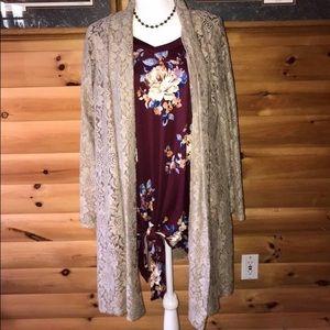 { Plus } gorgeous taupe crochet cardigan. NEW